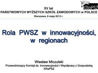 XV lat  PAŃSTWOWYCH WYŻSZYCH SZKÓŁ ZAWODOWYCH w POLSCE Warszawa, 8 maja 2013 r.
