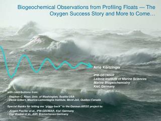 Arne Körtzinger IFM-GEOMAR Leibniz Institute of Marine Sciences Marine Biogeochemistry