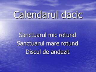 Calendarul dacic