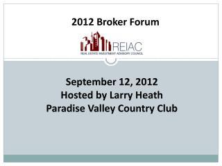 2012 Broker Forum