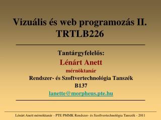 Vizuális és web programozás II. TRTLB226