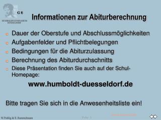 Informationen zur Abiturberechnung