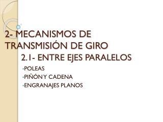 2- MECANISMOS DE TRANSMISIÓN DE GIRO 2.1- ENTRE EJES PARALELOS