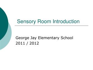 Sensory Room Introduction