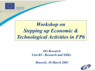 Workshop on Stepping up Economic  Technological Activities in FP6