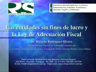 Las entidades sin fines de lucro y  la Ley de Adecuaci�n Fiscal