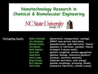 Nanotechnology Research in  Chemical & Biomolecular Engineering