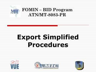Export Simplified Procedures