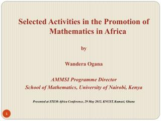 Selected Activities in the Promotion of Mathematics in Africa by Wandera Ogana
