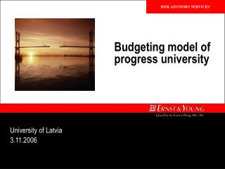 Budgeting model of progress university