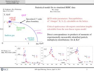 Statistical model fits to simulated RHIC data W.J. Llope Rice University