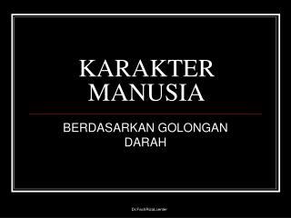 KARAKTER MANUSIA