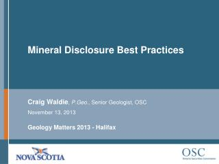 Mineral Disclosure Best  Practices