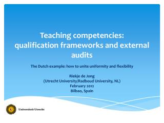 Teaching competencies: qualification frameworks and external audits