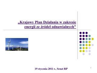"""""""Krajowy Plan Działania w zakresie energii ze źródeł odnawialnych"""""""
