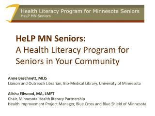 HeLP MN Seniors:  A Health Literacy Program for Seniors in Your Community