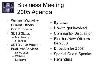 Business Meeting 2005 Agenda