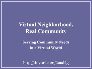 Virtual Neighborhood,  Real Community