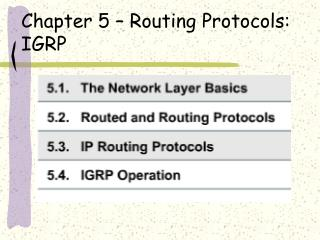 Chapter 5   Routing Protocols:  IGRP
