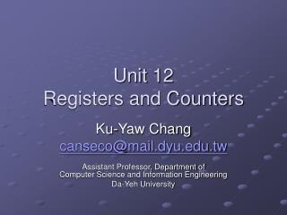 Unit 12 Registers and Counters