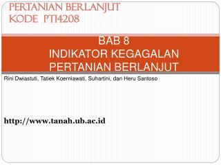 BAB 8 INDIKATOR KEGAGALAN  PERTANIAN BERLANJUT