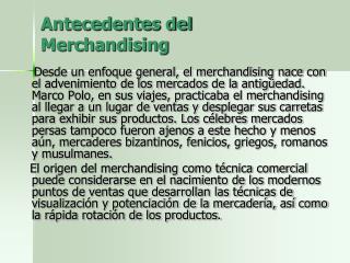 Antecedentes del Merchandising