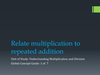 Relate multiplication to repeated addition