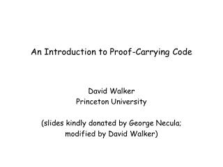 An Introduction to Proof-Carrying Code