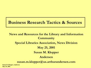 Business Research Tactics  Sources