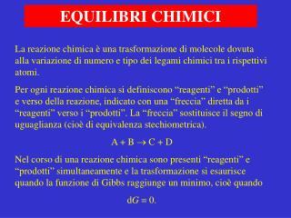 EQUILIBRI CHIMICI