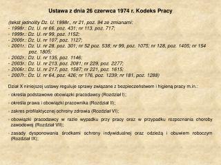 Ustawa z dnia 26 czerwca 1974 r. Kodeks Pracy