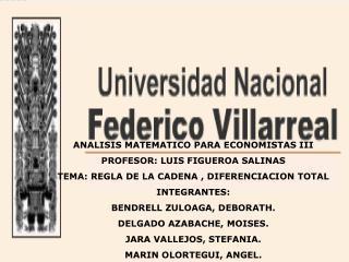 ANALISIS MATEMATICO PARA ECONOMISTAS III PROFESOR: LUIS FIGUEROA SALINAS