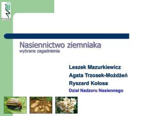 Nasiennictwo ziemniaka wybrane zagadnienia