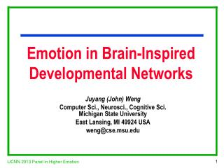 Emotion in Brain-Inspired  Developmental Networks