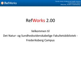 Ref Works 2.00