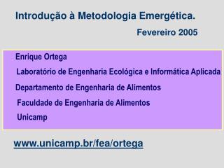 Introdução à Metodologia Emergética. Fevereiro 2005