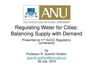Regulating Water for Cities:  Balancing Supply with Demand