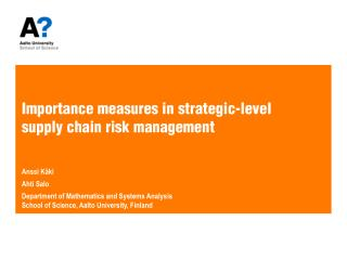 Importance measures in strategic-level  supply chain risk management