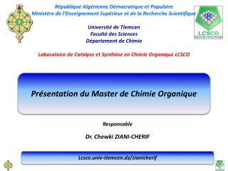 Pr�sentation du Master de Chimie Organique