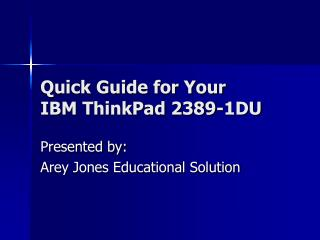 Quick Guide for Your  IBM ThinkPad 2389-1DU
