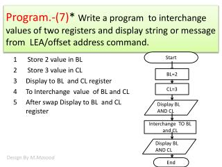 Store 2 value in BL  Store 3 value in CL Display to BL  and CL register