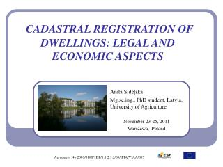 CADASTRAL REGISTRATION OF DWELLINGS: LEGAL AND ECONOMIC ASPECTS