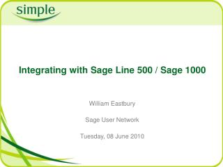 Integrating with Sage Line 500 / Sage 1000
