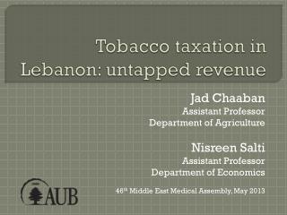 Tobacco taxation in Lebanon: untapped revenue
