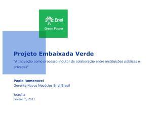 Paolo Romanacci Gerente Novos Negócios Enel Brasil Brasília Fevereiro, 2011