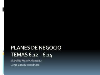 Planes de Negocio  Temas 6.12 – 6.14