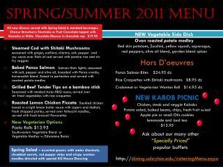 spring/summer 2011 Menu