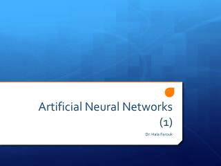 Artificial  Neural Networks  (1)