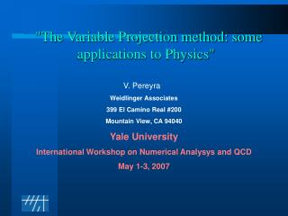 """""""The Variable Projection method: some applications to Physics"""""""