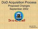 DoD Acquisition Process Proposed Changes  September 2002
